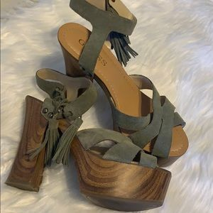 Guess Sage Green Platform Shoes